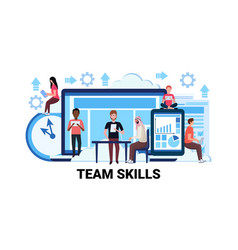 Mix race team skills development business concept vector