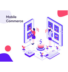 mobile commerce isometric modern flat design vector image