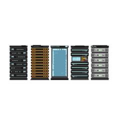 Modern flat server racks computer processor vector