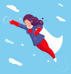 modern super hero flying sky clowds character flat vector image