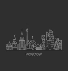 moscow skyline russia line art style vector image