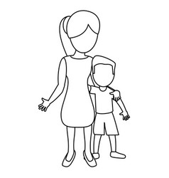 mother hugging son lovely outline vector image vector image
