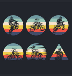 motocross collection retro vector image