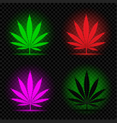 neon hemp leaf icon set vector image