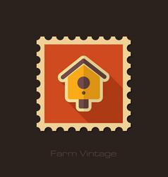 Nesting box bird-house retro flat stamp vector