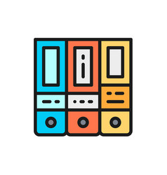 office folder arch files flat color icon vector image