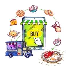 Online Food Shop Smartphone Composition vector
