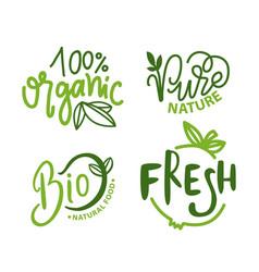Organic food pure nature fresh and bio meal set vector