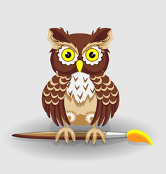 owl with brush for drawing series vector image