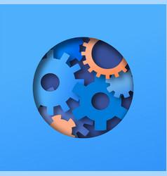 paper cut cog wheel gear circle concept vector image