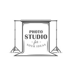 Photo studio label isolated on white background vector