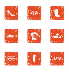 Pre screening icons set grunge style vector
