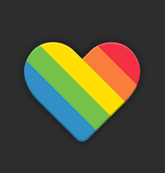 rainbow heart flat style icon on black vector image