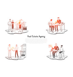 real estate agency - people choosing vector image