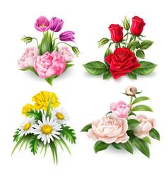 realistic rose tulip daisy peony bouquet vector image