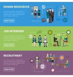 Recruitment HR People Horizontal Banners vector
