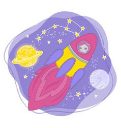 rocket girl cartoon space princess vector image