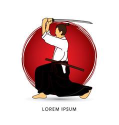 Samurai with katana sword vector
