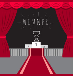 scene red curtain red carpet the award ceremony vector image
