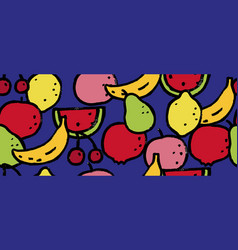 seamless pattern with colorful fruits berries vector image