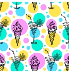 Seamless pattern with ice cream and tankard vector image