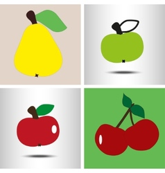 set fruit pear apples berry vector image