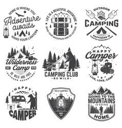 set of happy camper outdoor adventure symbol vector image