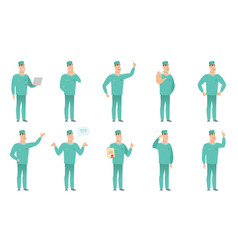 set of surgeon characters vector image