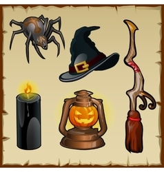 Set tools for witches five magic items vector
