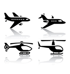 set transport icons - airbus and helicopter vector image