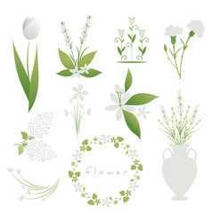 set white flowers decorative bouquets garlands vector image