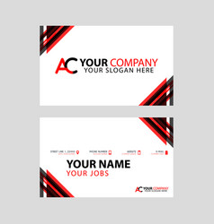 simple business card is red black with ac logo vector image
