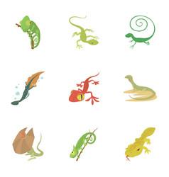 small lizard icons set cartoon style vector image vector image