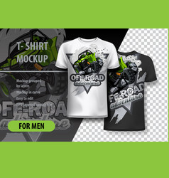 t-shirt template fully editable with green atv vector image