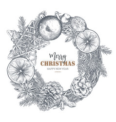 template for christmas greeting card with hand vector image