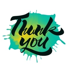 Thank you Handwritten Brush Script On Ink Drop vector