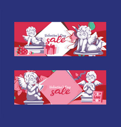 valentines day angel statue sale offer banner vector image