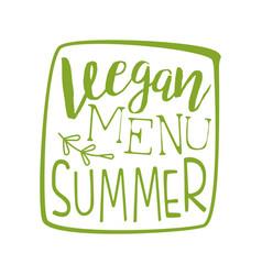 Vegan menu green label vector