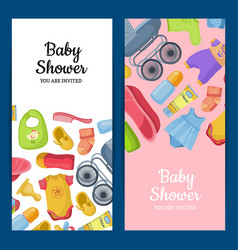 Vertical banners or flyers with baby accessories vector
