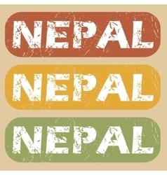 Vintage Nepal stamp set vector