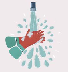 Wash your hands in water vector