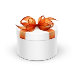 white round gift box with orange ribbon and bow vector image