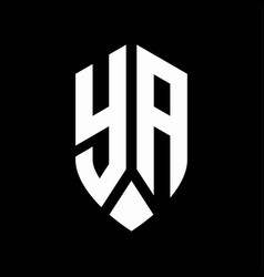ya logo monogram with emblem shield style design vector image