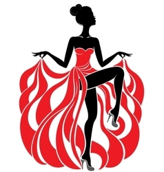 Young beautiful dancer girl in red dress vector