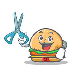 barber burger character fast food vector image