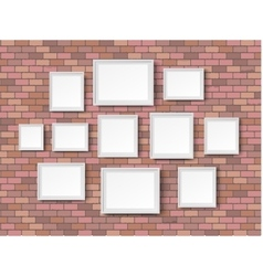 blank picture frame red bricks vector image vector image