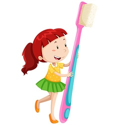 Dental theme with girl and toothbrush vector