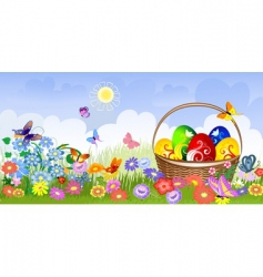Easter basket on the lawn vector image vector image