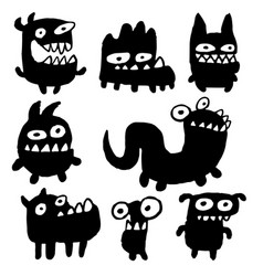 funny black flat monsters vector image vector image