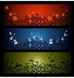 Happy Halloween trick or treat web banners set vector image